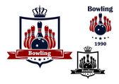 Bowling club emblem or symbol — Stock Vector