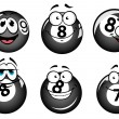 Funny smiling pool and billiard balls — Stock Vector #66871433