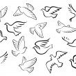 Pigeon and dove birds silhouettes — Stock Vector #66871657