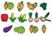 Flat icons of fresh vegetables — Stock Vector