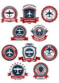 Aviation and air travel banners or emblems — Stok Vektör