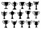 Sport and achievement trophy cups — Stock Vector