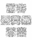 Stork, crane and heron birds celtic ornaments — Stock Vector