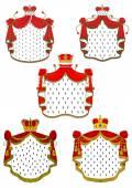 Heraldic red royal mantles set — Stock Vector