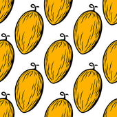 Yellow melon fruit seamless pattern — Stock Vector