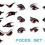 Danger monster aand evil red eyes set — Stock Vector #68127407
