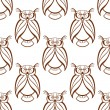 Seamless background pattern with brown owls — Vector de stock  #68127503