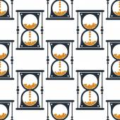 Hourglass or sandglass seamless pattern — Stock Vector