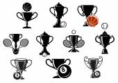 Isolated sporting trophy icons set — Stock Vector