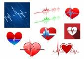 Hearts with beat frequency icons — Stock Vector