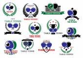 Table tennis sporting icons and labels set — Stock Vector