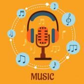 Концепция музыки, звука и развлечения — Cтоковый вектор