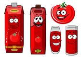 Red tomato vegetable and juice — Stok Vektör
