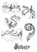 Swirling musical scores and notes — Stock Vector