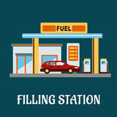 Car refueling at a filling station — Stock Vector