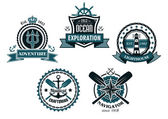 Nautical and marine emblems or icons — Stock Vector