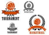 Basketball sport emblems or badges — Stock Vector