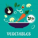 Flat vegetarian salad with fresh vegetables — Stock Vector #68858073