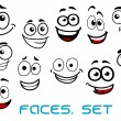 Funny happy faces cartoon characters — Stock Vector #68858251