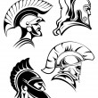 Outline spartan warriors or gladiators heads — Stock Vector #68858571