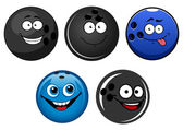 Blue and black bowling balls cartoon characters — Stock Vector