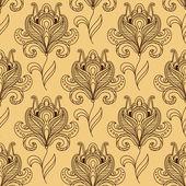 Brown paisley stylized flower seamless pattern — Vecteur