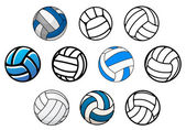 Volleyball balls in outline and cartoon style — Stock Vector