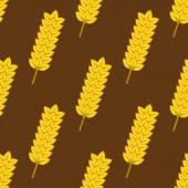 Seamless yellow ripe wheat spikes pattern — Stock Vector