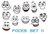 Funny happy faces cartoon characters — Stock Vector