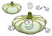 White pattypan squash vegetable cartoon character — Stock Vector
