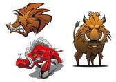 Cartoon wild boars with ruffled fur — Stock Vector
