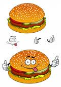 Hamburger cartoon character isolated on white — Stock Vector