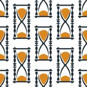 Vintage hourglasses or sandglasses seamless pattern — Stock Vector