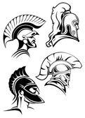 Outline spartan warriors or gladiators heads — Stock Vector