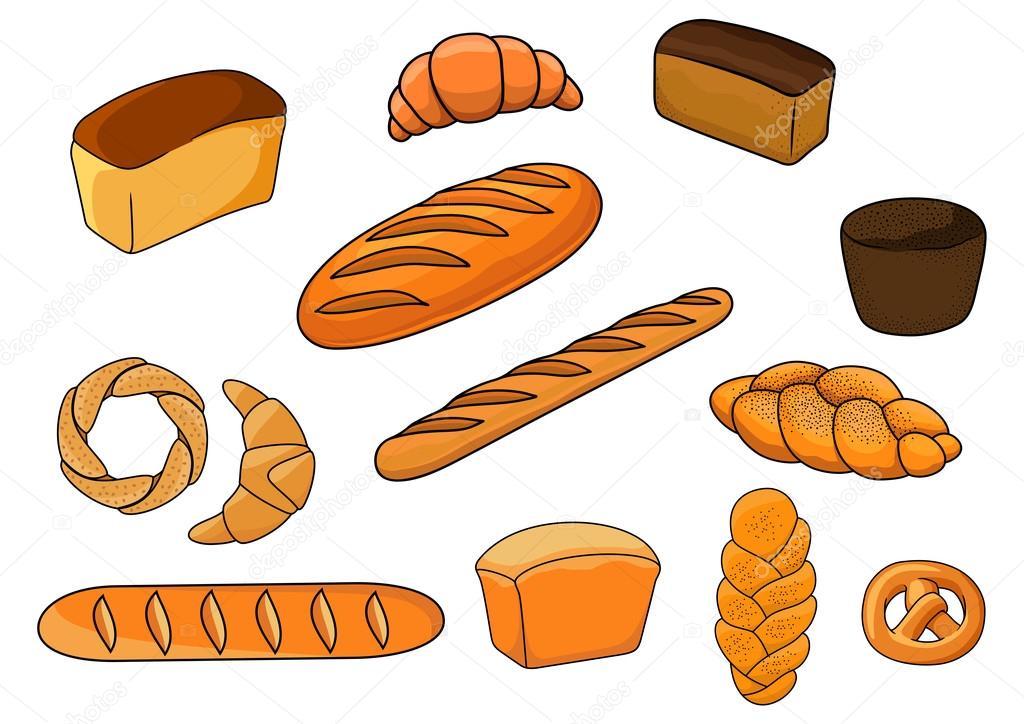 Panes Y Pastelería En Estilo De Dibujos Animados
