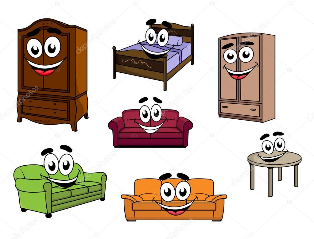 personnages de dessin anim heureux canap s armoires table et lit image vectorielle 68858295. Black Bedroom Furniture Sets. Home Design Ideas