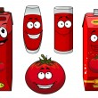 Natural tomato juice cartoon and vegetable characters — Stock Vector #69566513