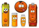 Cartoon orange fruit, juice containers and glasses — Stock Vector