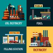 Filling stations and oil refinery buildings — Stock Vector