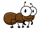 Cartoon cute brown ant character — Stock Vector