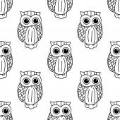 Vintage cute black owls seamless pattern — Stock Vector