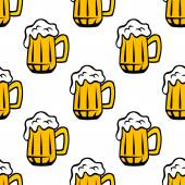 Frothy beer tankards seamless pattern — Stock Vector