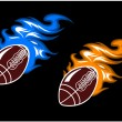Rugby balls with colored fire flames — Stock Vector #70123973