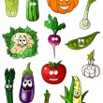 ������, ������: Cheerful cartoon various vegetables characters