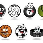 Постер, плакат: Cartoon hockey puck and sporting balls mascots