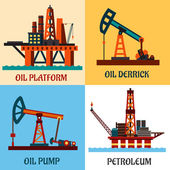 Petroleum production and oil derrick flat icons — Stock Vector
