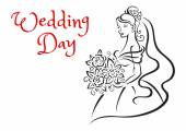 Wedding day card template with young bride — Stock Vector
