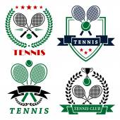Tennis club logo with crossed rackets and balls — Stock Vector
