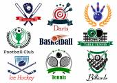 Competition sports emblems and symbols — Stock Vector