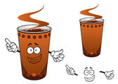 Takeaway cup of coffee cartoon character — Vetor de Stock